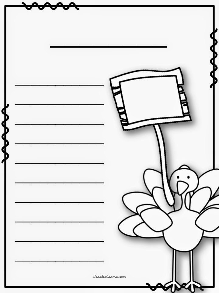 FREE Thanksgiving writing papers to inspire your students to write!  TeacherKarma.com
