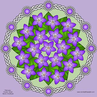 Violets and Amethyst Mandala