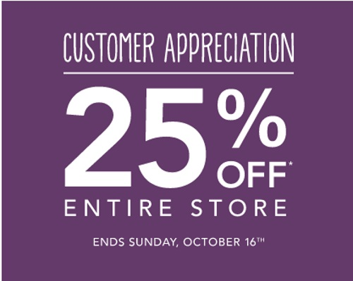 Roots 25% Off Customer Appreciation Event
