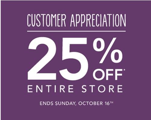 Roots 25% Off Customer Appreciation Event