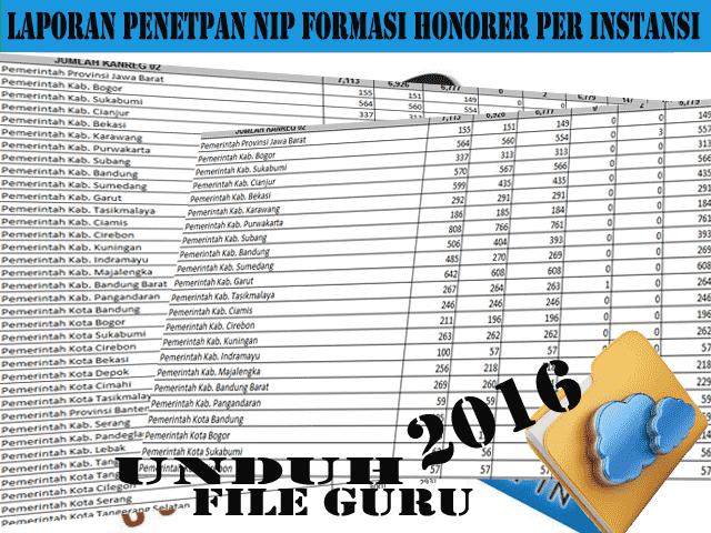 Download Update Laporan Penetapan NIP Formasi Honorer Per Instansi 2016
