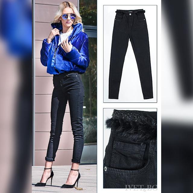 Γυναικείο μαύρο τζιν παντελόνι LITERA
