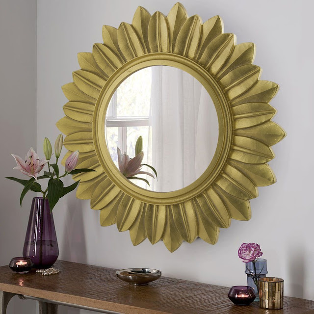 5) Homesake Sunburst Decorative Wooden Handcarved Wall Mirror, Royal Gold