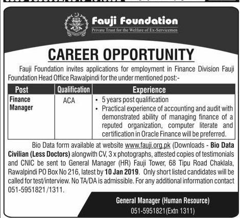 Latest Jobs in Fauji Foundation January 2019
