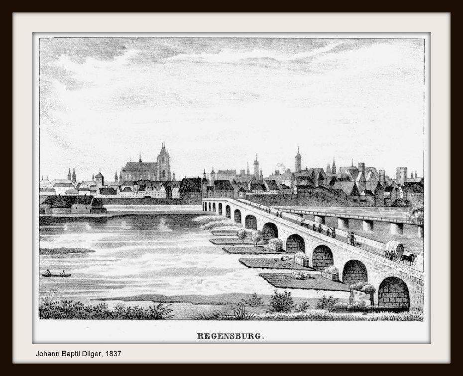 Regensburg historisch: 1837 - Stich von Dilger - Regensburg