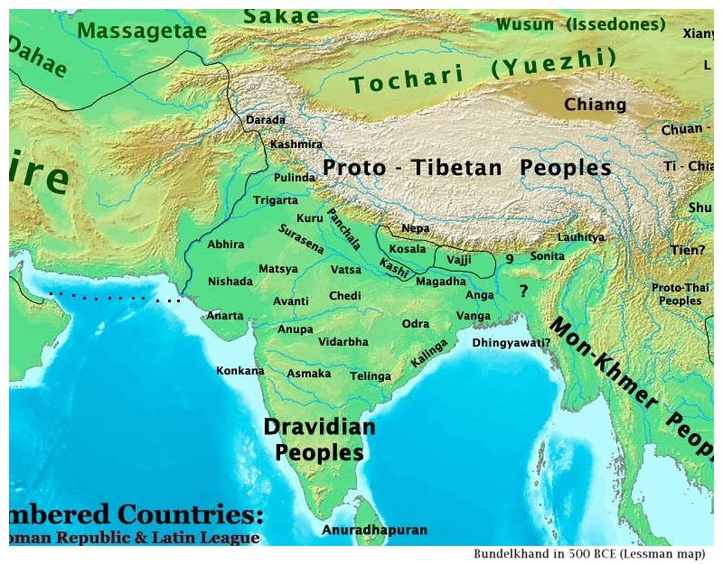 Thomas Lessman map of India, 500 BCE
