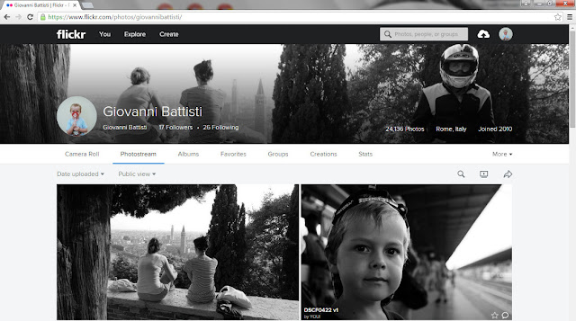 Screenshot della mia homepage di Flickr