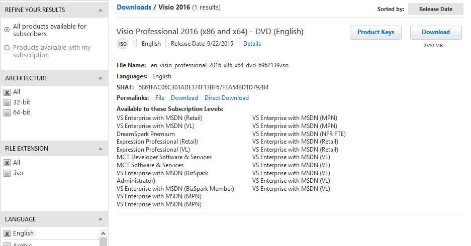 Microsoft Visio Professional 2016 English (x86x64) Original