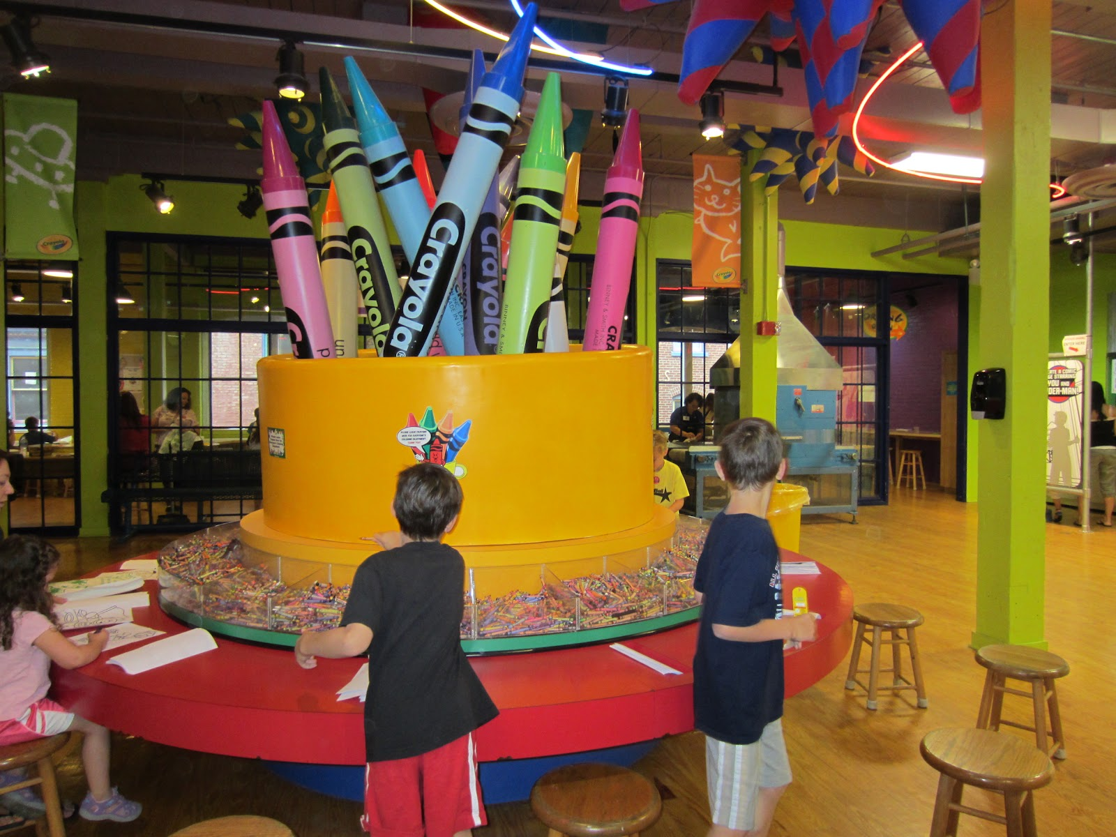 Crayons and activities at the Crayola Experience