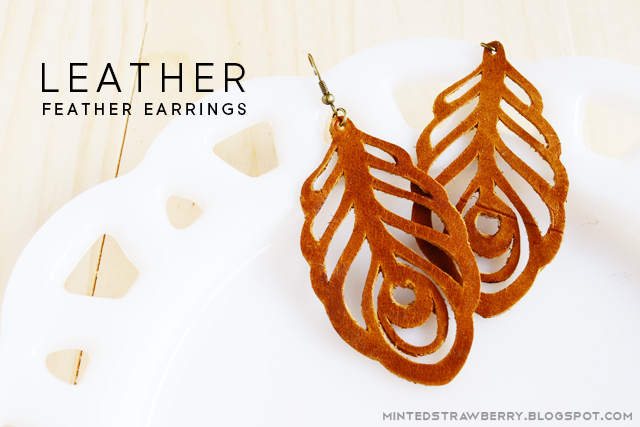 feather earrings leather DIY