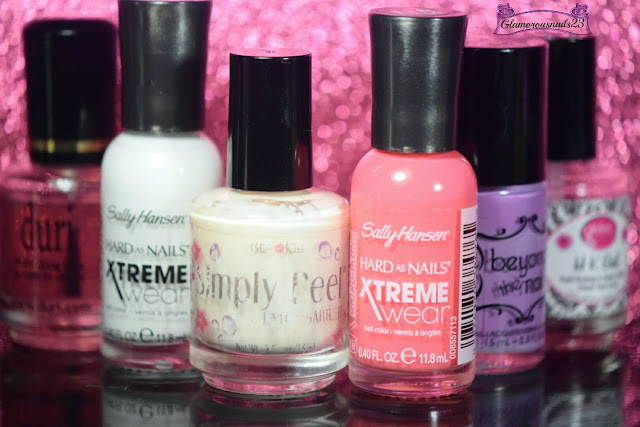 Duri Rejuvacote, Sally Hansen Xtreme Wear White On, Bliss Kiss Simply Peel Latex Barrier, Sally Hansen Xtreme Wear Coral Reef, Beyond The Nail Spring Purple, Glisten & Glow HK Girl Fast Drying Top Coat