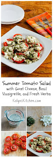 Summer Tomato Salad with Goat Cheese, Basil Vinaigrette, and Fresh Herbs [from KalynsKitchen.com]