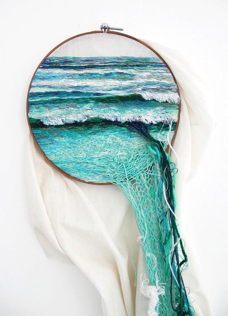 Morna Blue geometric native Scarf