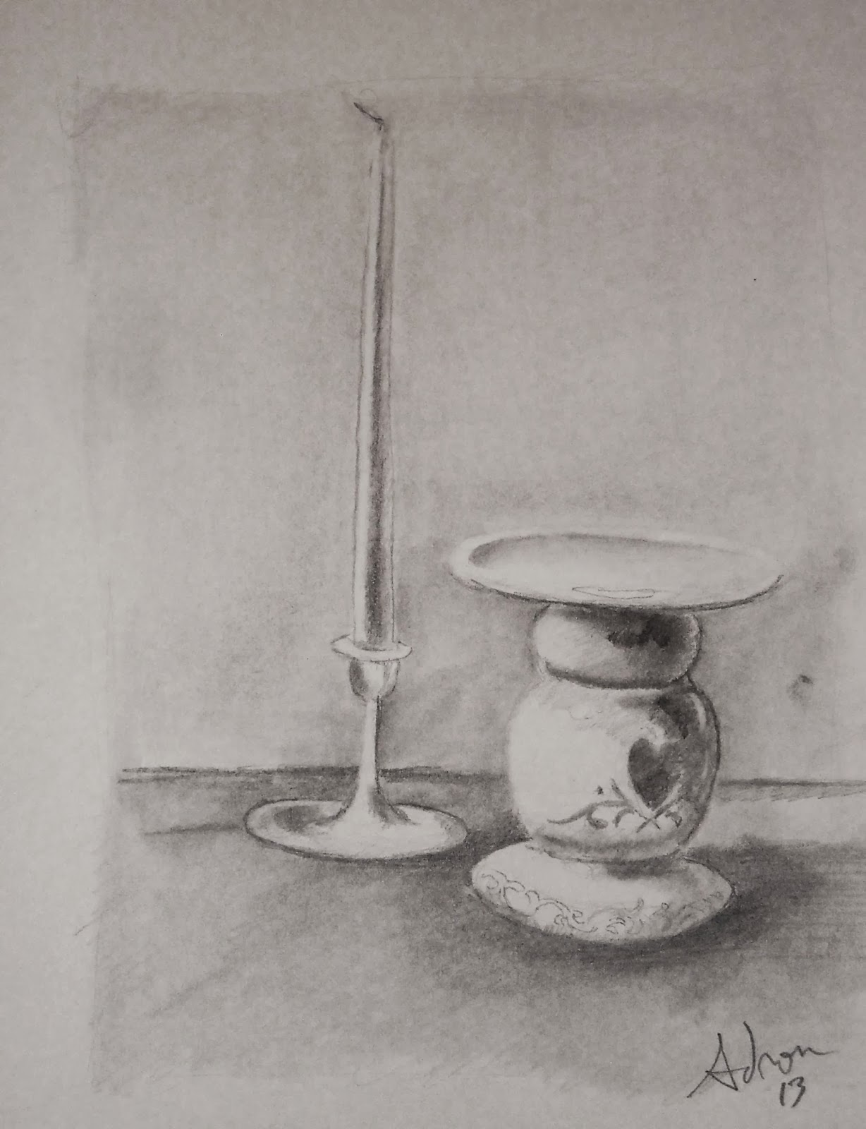 Artist adron candlestick and candle a quick sketch in pencil