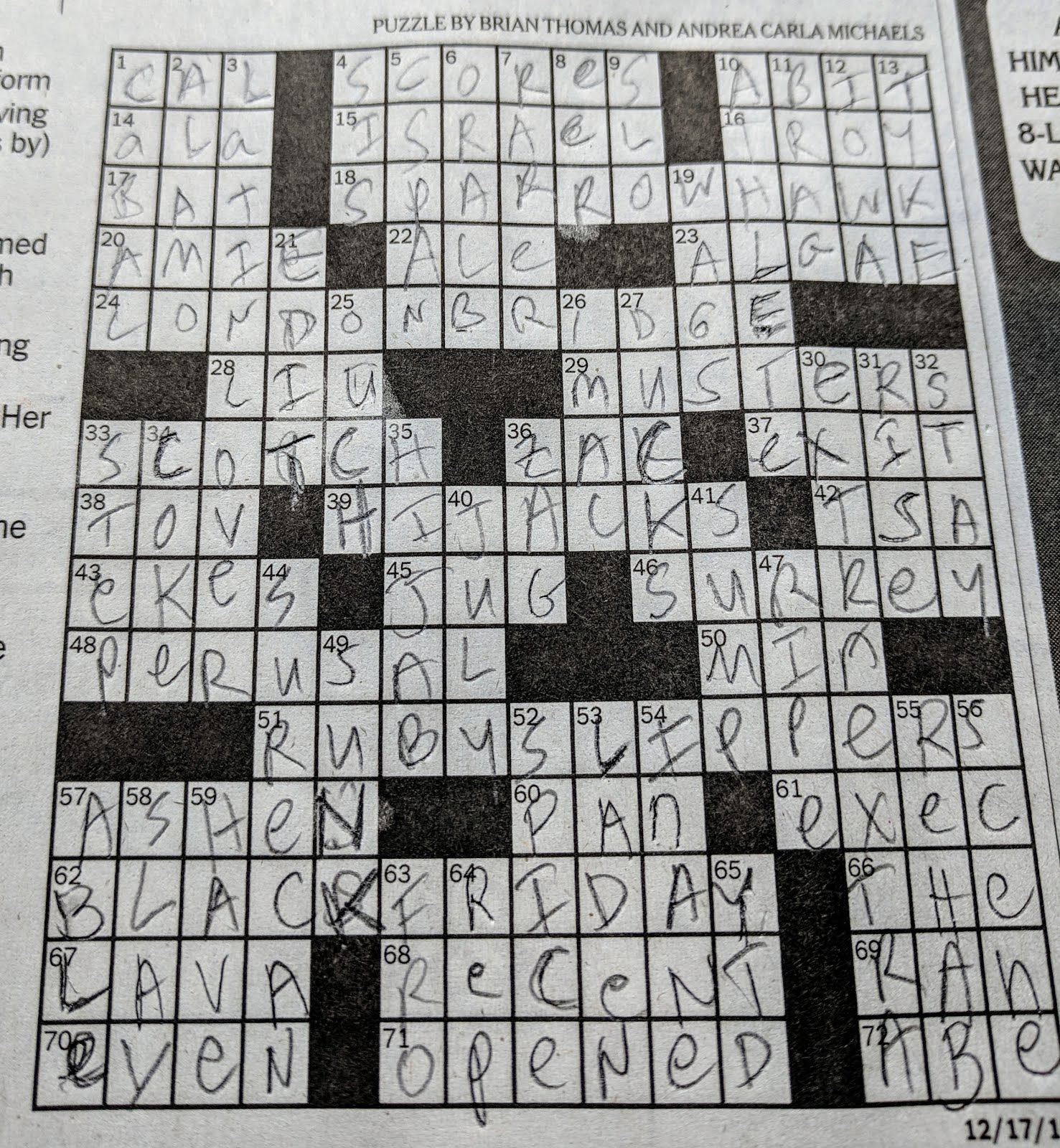 Placard Crossword Orchids And Onions Cafe Crossword And Christmas