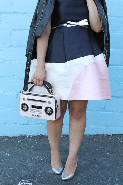 Kate Spade Colorblock Dress and Pink Boombox Novelty Bag