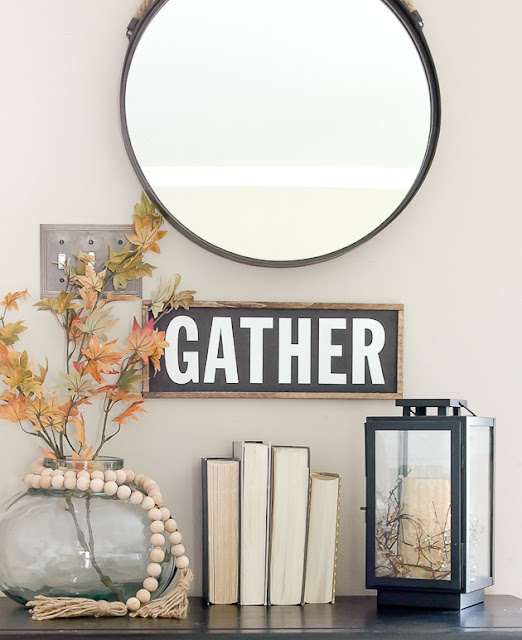 DIY gather farmhouse sign made from Dollar Tree foam board