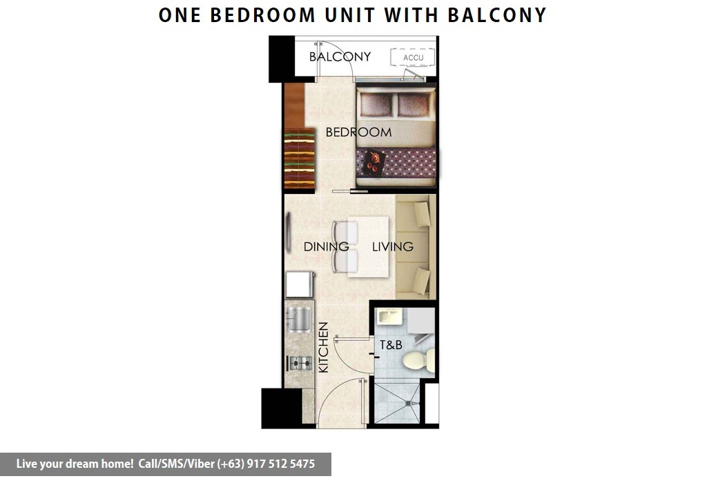 Floor Plan of SMDC Shore 2 Residences - 1 Bedroom With Balcony | Condominium for Sale SM Mall of Asia Pasay