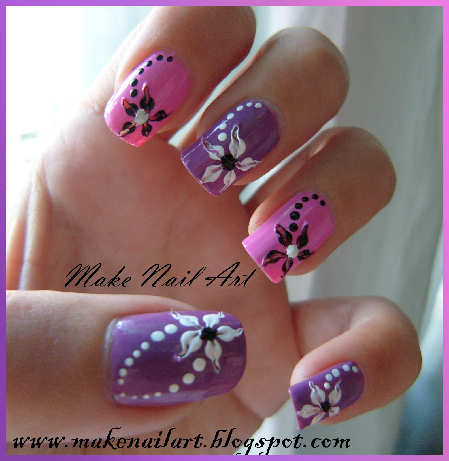 Make Nail Art: Easy And Beautiful Flower Nail Art Tutorial