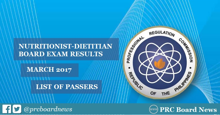 March 2017 Nutritionist Dietitian board exam results passers