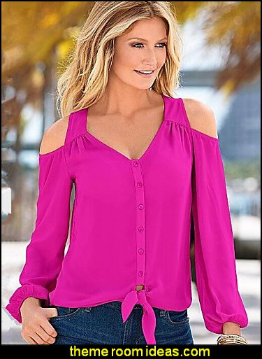 Women's Solid  Off-The-Shoulder Chiffion Pink  BLOUSE