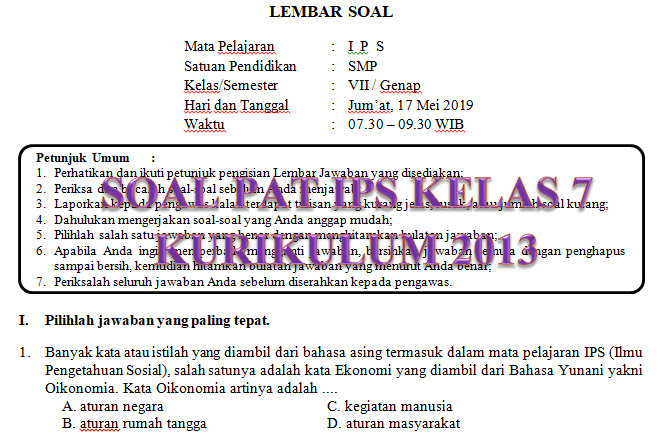 Soal Dan Jawaban Pat Ips Smp Kelas 7 Kurikulum 2013 Tahun Pelajaran 2018 2019 Mgmp Ips Indramayu