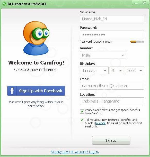 Register ID Camfrog Baru