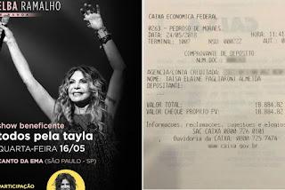 Elba Ramalho é vítima de golpe após doar R$ 18 mil para menina doente