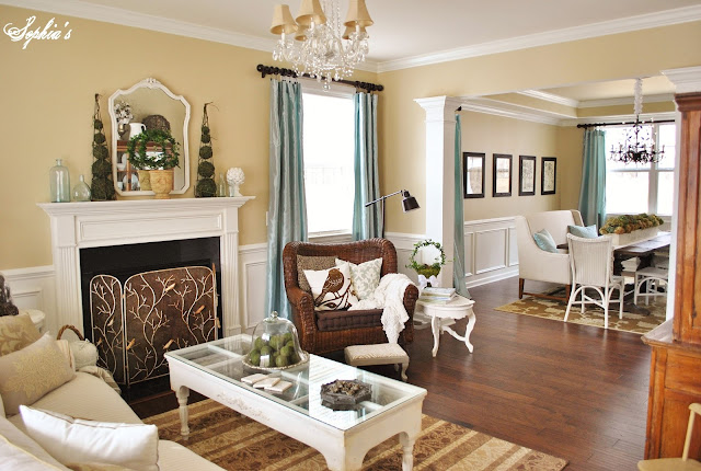 Sophia 39 s living room dining room tour and q a - Airy brown and cream living room designs inspired from outdoor colors ...