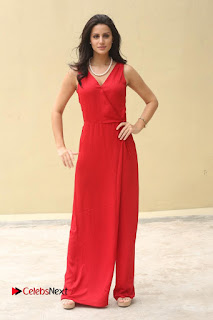Actress Larissa Bonesi Pictures in Red Long Dress at Thikka Interview  0205