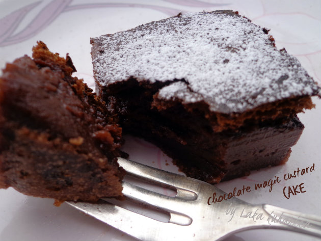 Chocolate magic custard cake by Laka kuharica: three layer cake, with the custard interior, is easy to make.