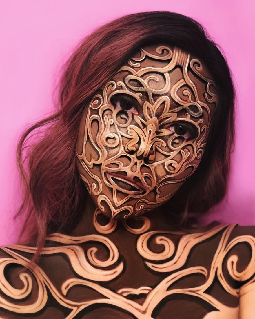 10-Filigree-Mimi-Choi-Optical-Illusions-Body-Painting-Makeup-Effects-NO-Photoshop-www-designstack-co