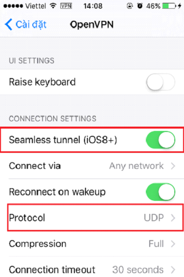 4.Kích hoạt Seamless tunnel (IOS8+) và Protocol chọn UDP