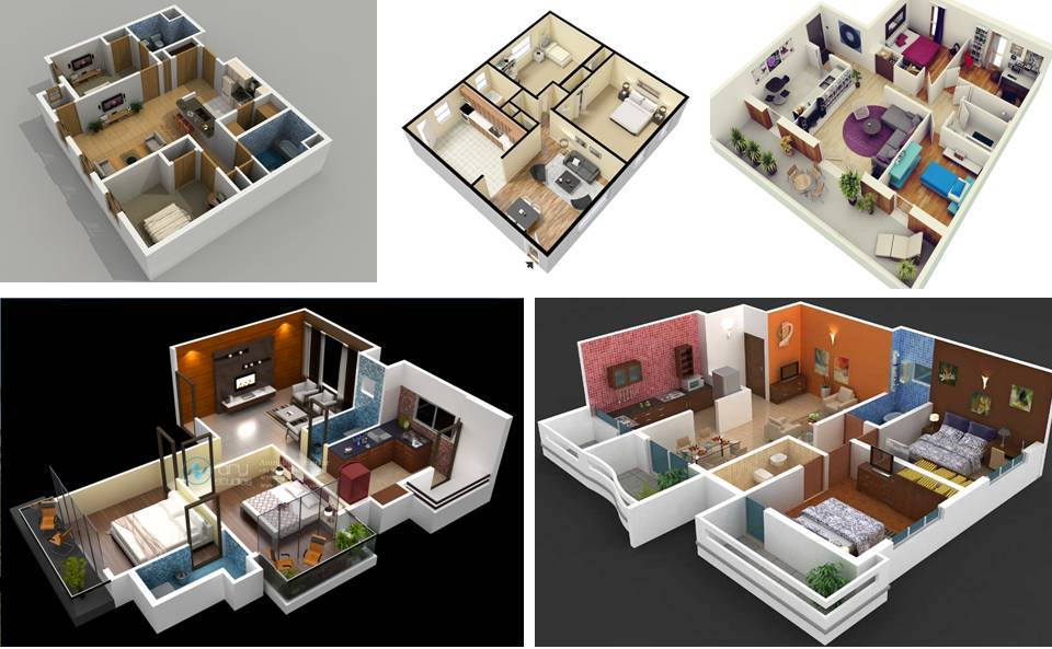 15%2BStylish%2BHome%2B3D%2BFloor%2BPlans Stylish Home 3D Floor Plans Interior