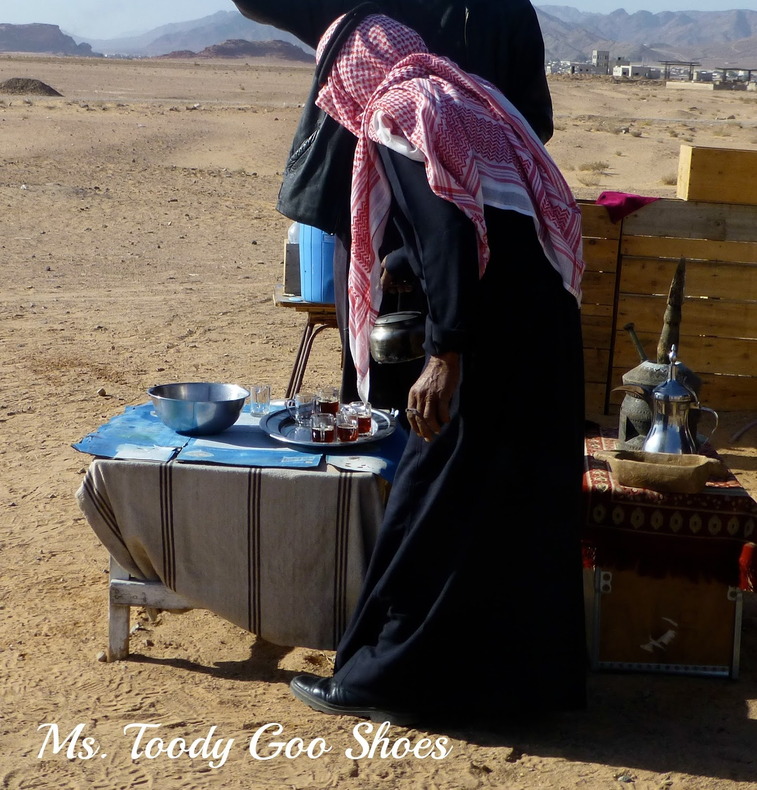Drinking Tea in Wadi Rum Desert, Jordan --- Ms. Toody Goo Shoes