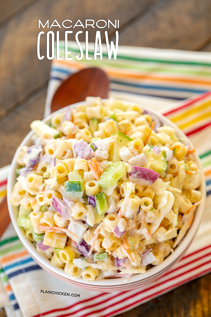 Macaroni Coleslaw - two favorites combined into one! Great make ahead side dish for potlucks and cookouts. Pasta, coleslaw mix, onion, celery, bell pepper, zucchini, water chestnuts, Miracle Whip, sugar, cider vinegar, salt and pepper. I never have any leftovers! SO good! #sidedish #potluck #pastasalad