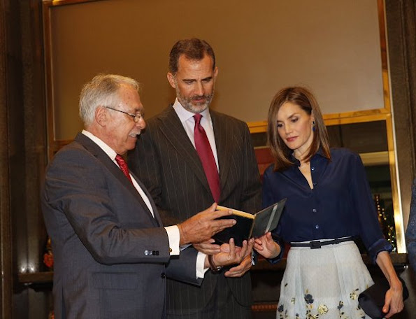 King Felipe and Queen Letizia attended the commemoration ceremony held on the occasion of 100th birthday of Camilo Jose Cela, Queen Letizia wore Carolina Herrera dress, skirt blouse