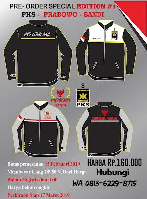 Pre Order Limited Edition Jaket Bolak Balik PKS-Prabowo -Sandi gelombang I Call +6281362298715
