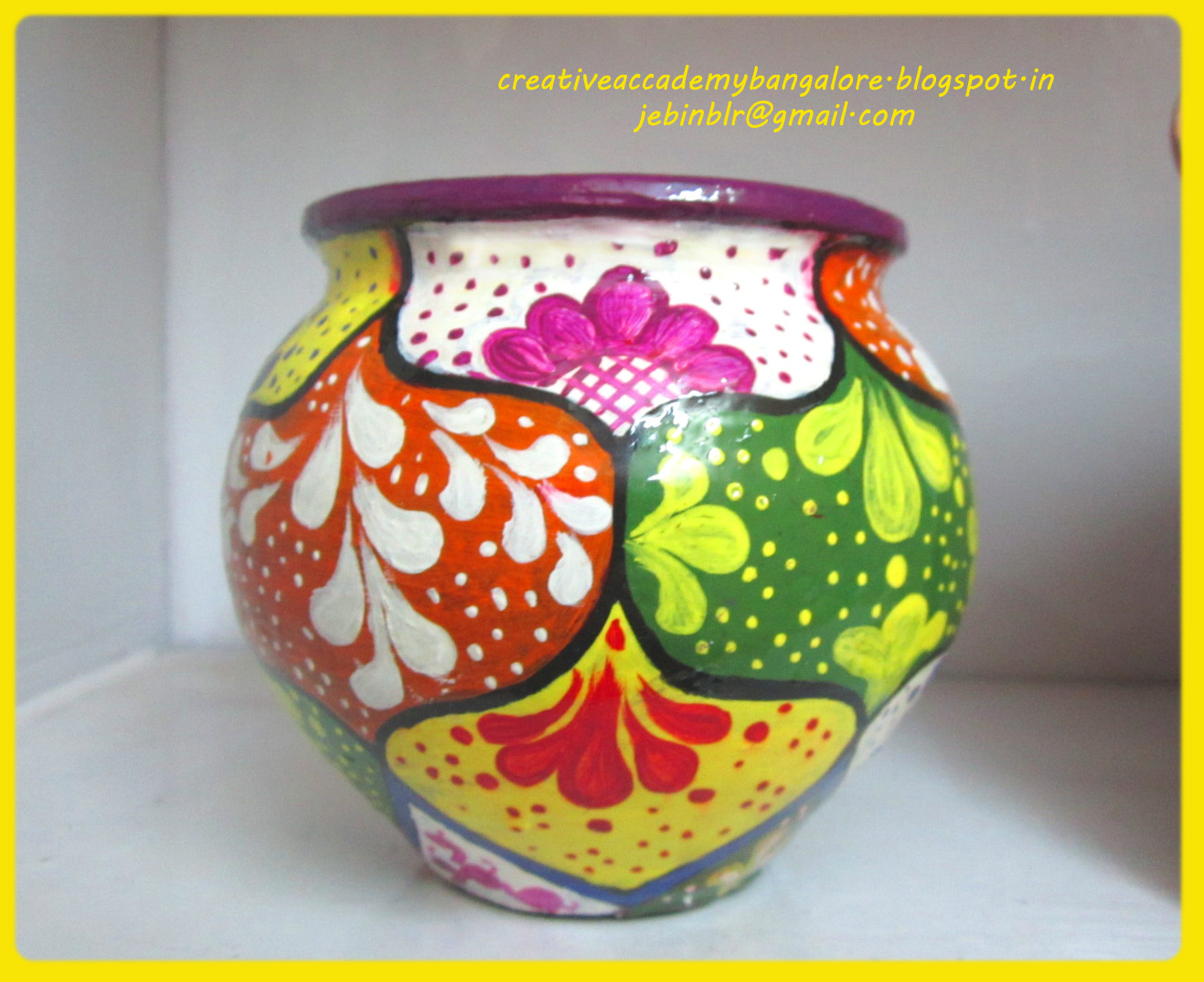 Creative Academy Bangalore: Pot painting Tutorial - photo#3