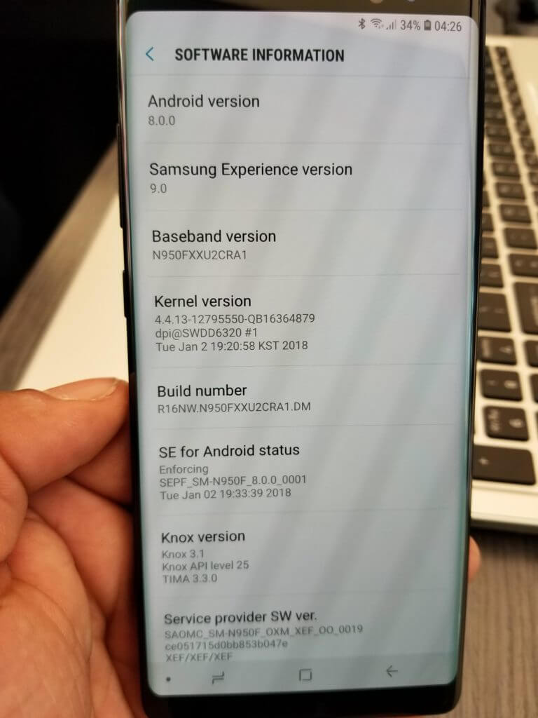 Galaxy Note 8 SM N950F Official Oreo 8 0 Update Randomly