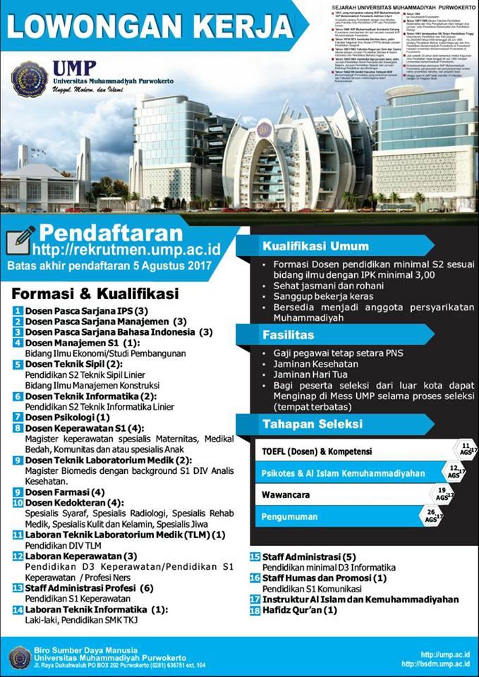 rekrutmen pegawai universitas muhammadiyah purwokerto