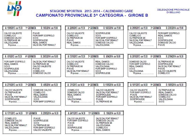Calendario Terza Categoria.Calciobellunese Terza Categoria B Il Calendario