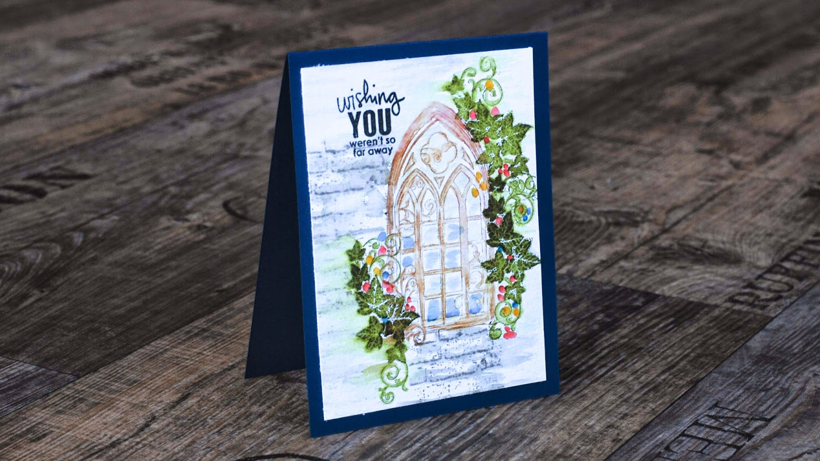 watercolor stamping - gothic window