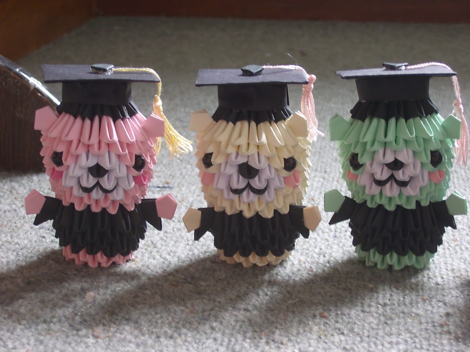 jewellia handicrafts  new 3d origami graduation bears   diagram