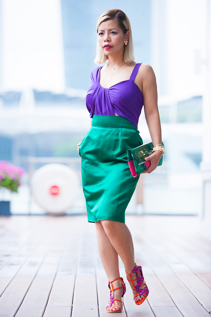 Singapore Best Fashion Blog- Crystal Phuong wore Gucci Color Block Dress Spring 2011 Ready-To-Wear collection