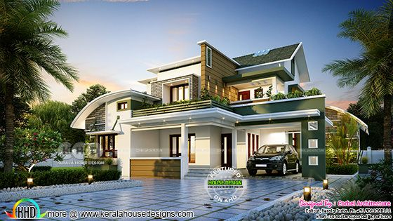 2771 sq-ft 4 bedroom curved roof mix contemporary home