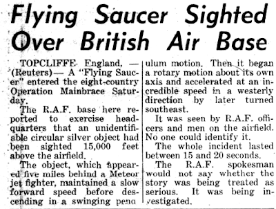 Flying Saucer Sighted Over British Air Base - Western Star, The 9-22-1952