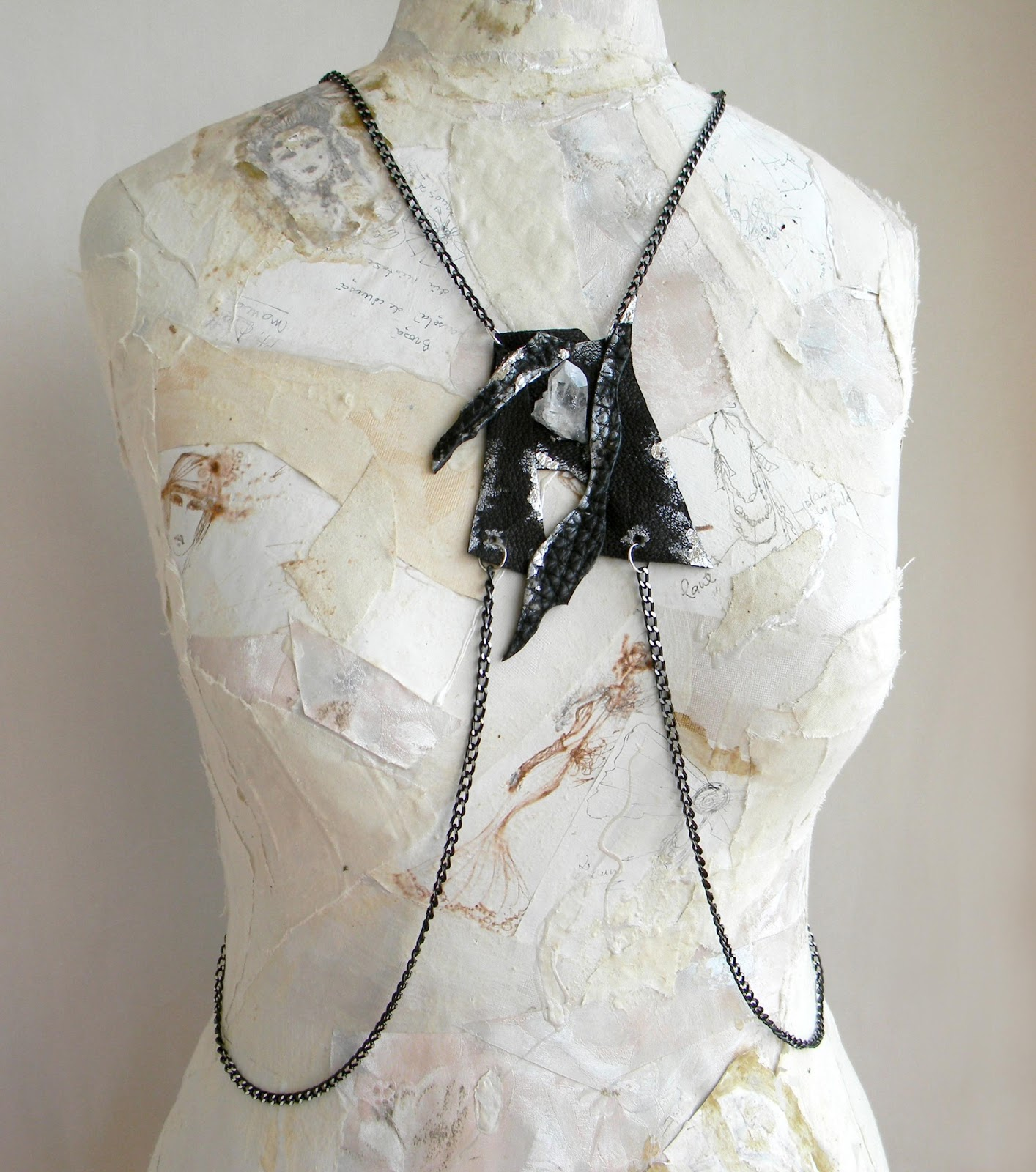 Handcrafted Body Chain Jewelry Steampunk Gothic with Quartz Crystal Rock
