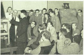 Photograph shows a group of medical students receiving instruction at the Adelaide Hospital, Dublin, Ireland, c. 1950s