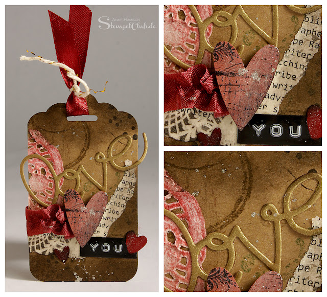 Valentin, Stampin' Up!, Timeless Textures, Love, Anhänger, Tag, Vintage